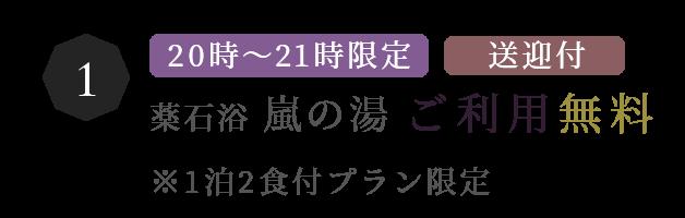 20時~21時限定/送迎付/薬石浴 嵐の湯 ご利用無料